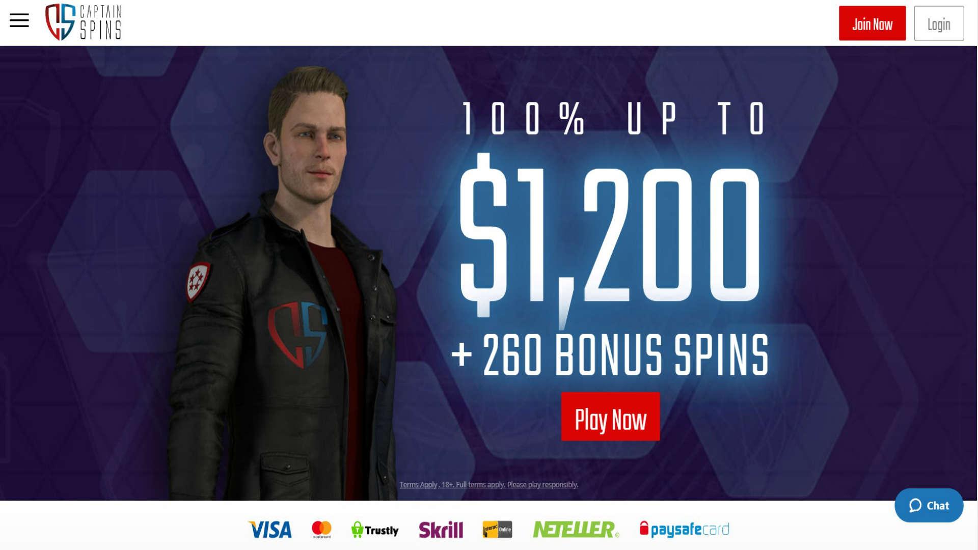 Captain Spins Casino screenshot